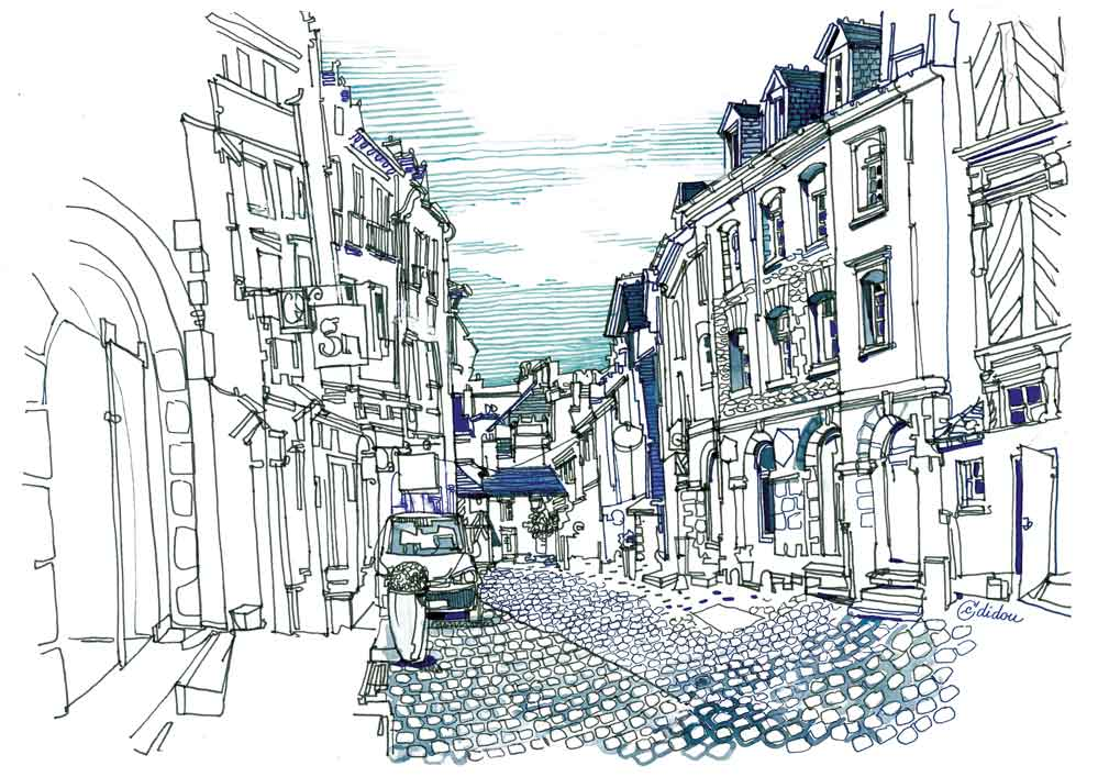 Rue du Chapître. Vieux Rennes. 30x40cm